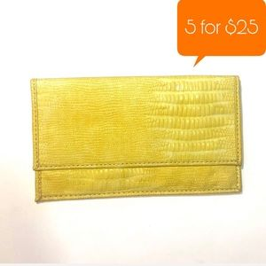 Loft yellow Faux snakeskin clutch envelope